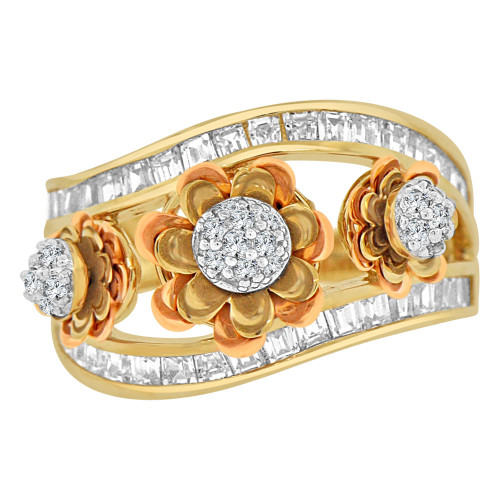 14k Tricolor Gold,  Spinning Flower Wide Cigar Band Style Ring Cubic Zirconia (R110-021)