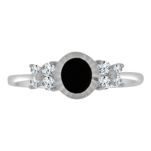 14k White Gold, Dainty Design Ring Cubic Zirconia and Black Onyx Center (R110-051)