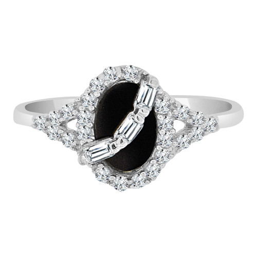 14k White Gold, Dainty Design Ring Cubic Zirconia and Black Onyx Center (R110-053)