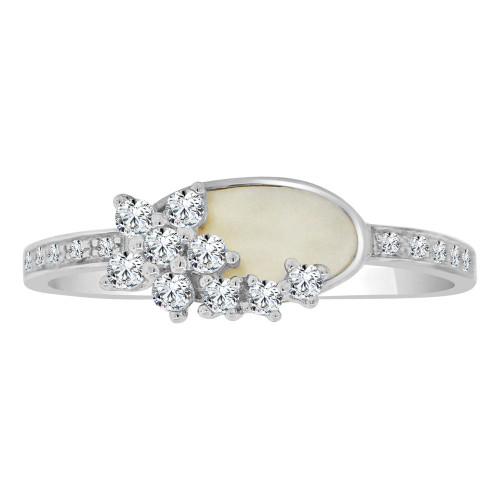 14k White Gold, Dainty Design Ring Cubic Zirconia and Mother of Pearl (R110-054)