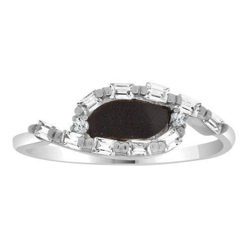 14k White Gold, Dainty Design Ring Cubic Zirconia and Black Onyx Center (R110-055)