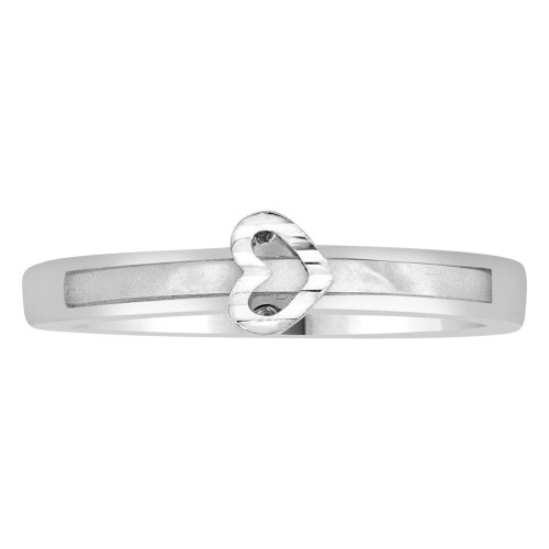 14k White Gold, Dainty Heart Design Ring and Mother of Pearl Center Strip (R110-057)