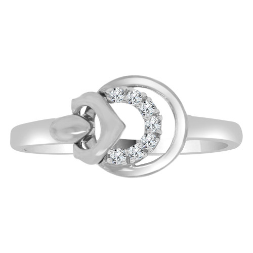 14k White Gold, Dainty Modern Abstract Design Ring Cubic Zirconia (R110-058)