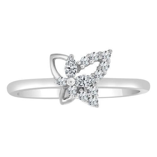 14k White Gold, Dainty Modern Abstract Butterfly Design Ring Cubic Zirconia (R110-060)