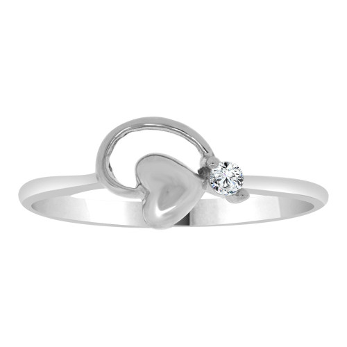 14k White Gold, Dainty Modern Abstract Heart Design Ring Cubic Zirconia (R110-061)
