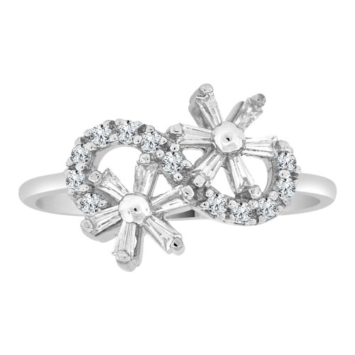 14k White Gold, Dainty Modern Flowers Design Ring Cubic Zirconia (R110-063)