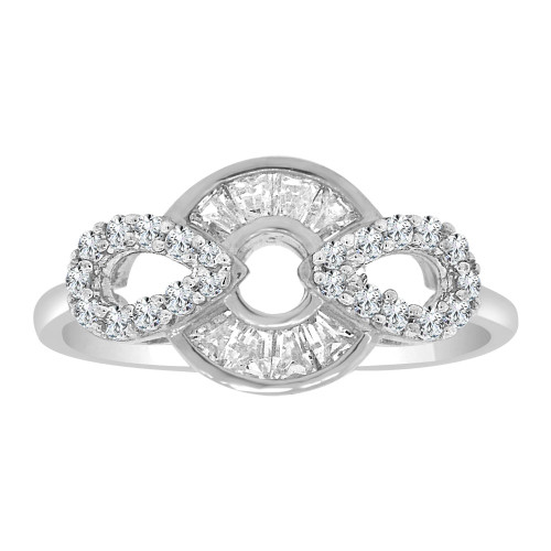 14k White Gold, Modern Abstract Design Ring Cubic Zirconia (R110-066)