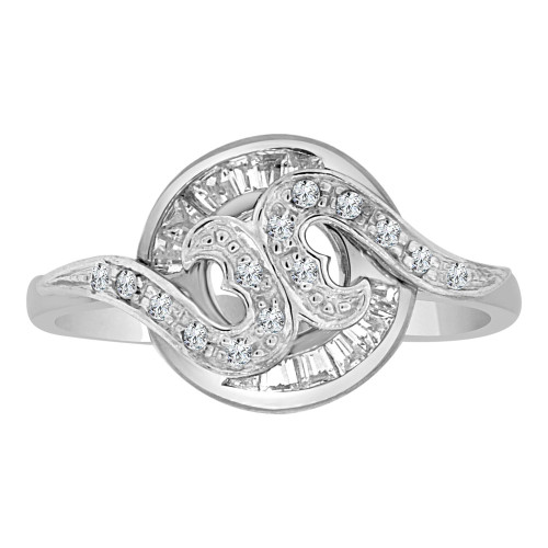 14k White Gold, Modern Abstract Design Ring Cubic Zirconia (R110-068)