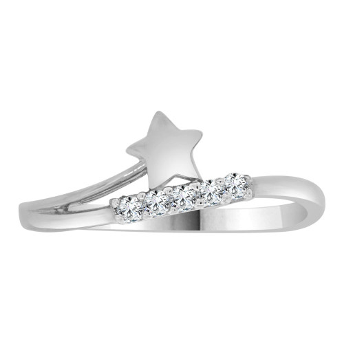 14k White Gold, Dainty Modern Abstract Star Design Ring Cubic Zirconia (R110-070)