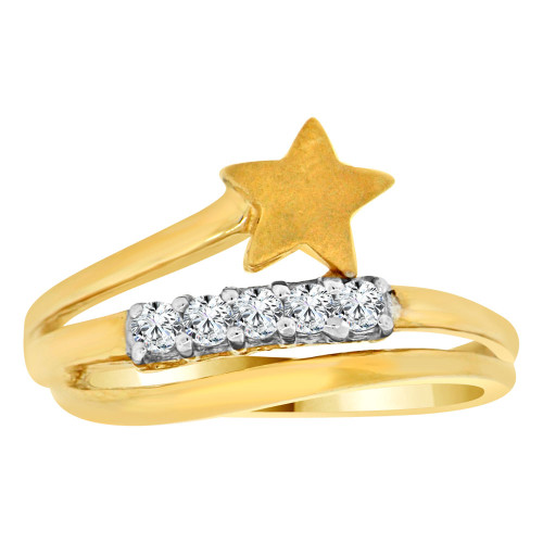 14k Yellow Gold, Dainty Modern Star Design Layered Style Ring Brilliant Cubic Zirconia (R111-009)