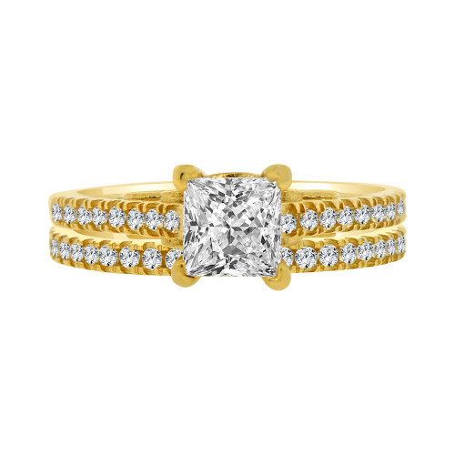 14k Yellow Gold, 2 Piece Set Lady Engagement Band & Ring Princess Center Cubic Zirconia 1.0ct (R111-013)