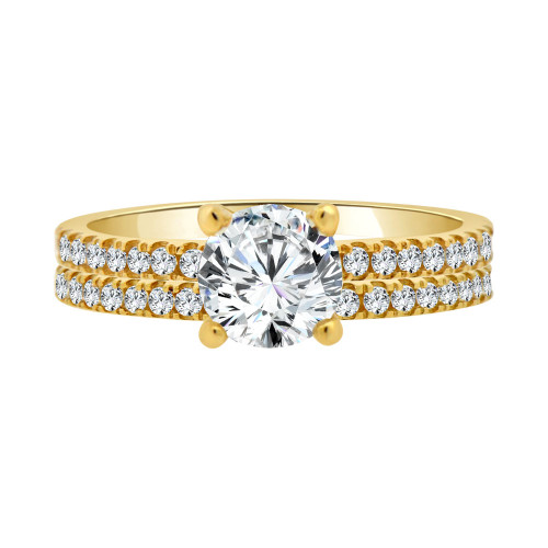 14k Yellow Gold, 2 Piece Set Lady Engagement Band & Ring Round Center Cubic Zirconia 1.0ct (R111-014)