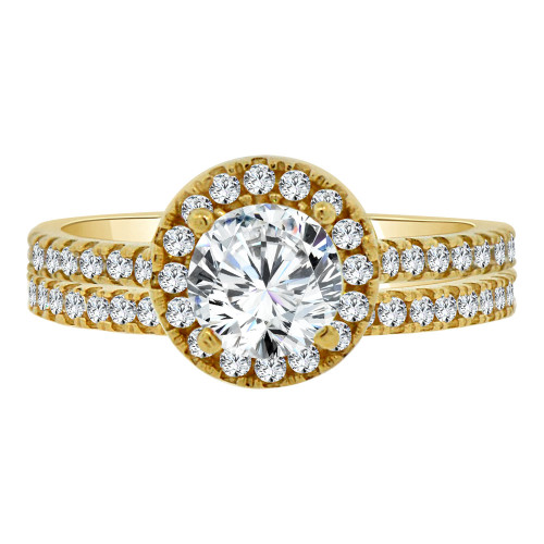 14k Yellow Gold, 2 Piece Set Lady Engagement Band & Ring Round Center Cubic Zirconia 1.0ct (R111-015)