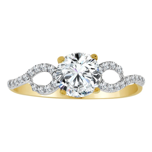 14k Yellow Gold White Rhodium, Dainty Lady Engagement Ring Round Center Cubic Zirconia 1.0ct (R111-017)