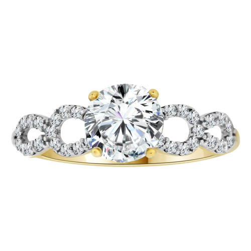 14k Yellow Gold White Rhodium, Dainty Lady Engagement Ring Round Center Cubic Zirconia 1.0ct (R111-018)
