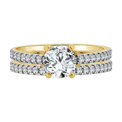 14k Yellow Gold, 2 Piece Set Lady Engagement Band & Ring Round Center Cubic Zirconia 1.0ct (R111-021)