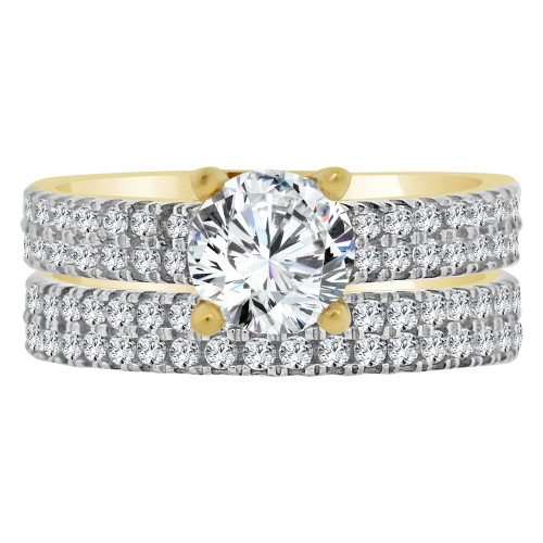 14k Yellow Gold, 2 Piece Set Lady Engagement Band & Ring Round Center Cubic Zirconia 1.0ct (R111-022)