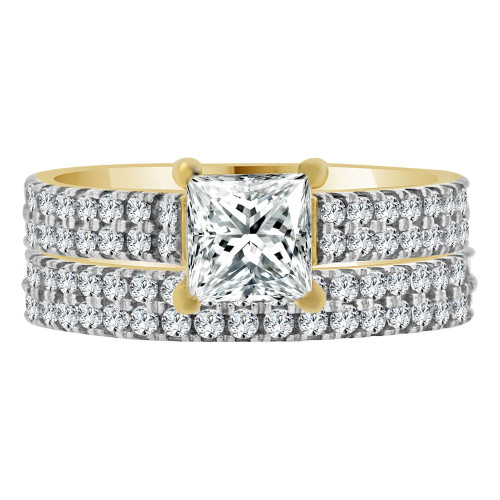 14k Yellow Gold, 2 Piece Set Lady Engagement Band & Ring Princess Center Cubic Zirconia 1.0ct (R111-023)