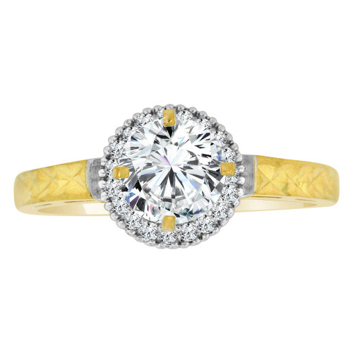 14k Yellow Gold White Rhodium, Halo Lady Engagement Ring Round Center Cubic Zirconia 1.0ct (R111-024)
