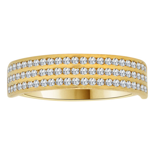 14k Yellow Gold, 3 Row Anniversary Wedding Promise Engagement Band Ring Cubic Zirconia (R111-025)