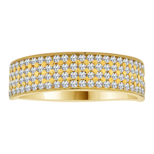 14k Yellow Gold, 4 Row Anniversary Wedding Promise Engagement Band Ring Cubic Zirconia (R111-026)