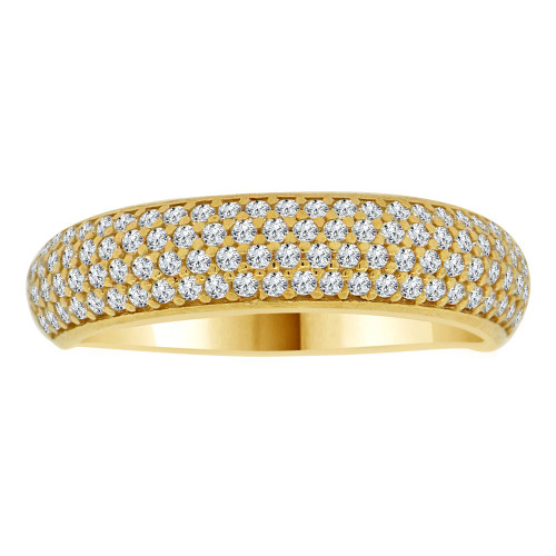 14k Yellow Gold, 4 Row Anniversary Wedding Promise Engagement Band Ring Cubic Zirconia (R111-027)