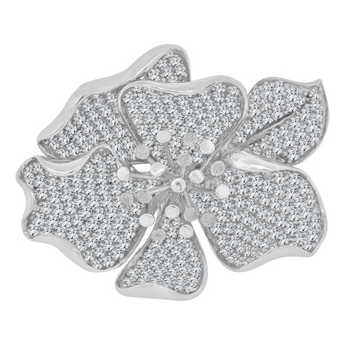 14k White Gold, Extra Large Fancy Flower Ring Brilliant Cubic Zirconia (R111-056)