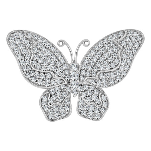 14k White Gold, Large Fancy Butterfly Ring Brilliant Cubic Zirconia (R111-057)