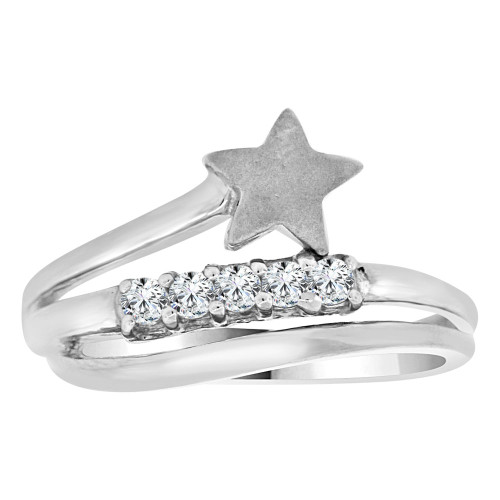 14k White Gold, Dainty Modern Star Design Layered Style Ring Brilliant Cubic Zirconia (R111-059)