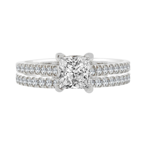 14k White Gold, 2 Piece Set Lady Engagement Band & Ring Princess Center Cubic Zirconia 1.0ct (R111-063)