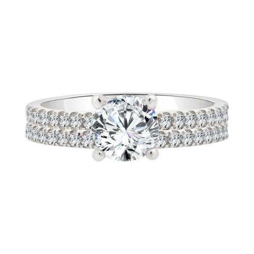 14k White Gold, 2 Piece Set Lady Engagement Band & Ring Round Center Cubic Zirconia 1.0ct (R111-064)