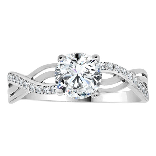 14k White Gold, Dainty Lady Engagement Ring Round Center Cubic Zirconia 1.0ct (R111-066)