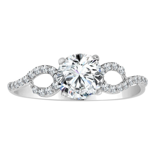 14k White Gold, Dainty Lady Engagement Ring Round Center Cubic Zirconia 1.0ct (R111-067)