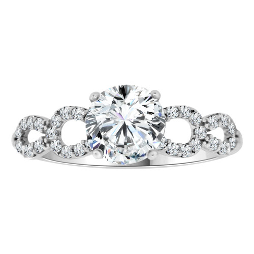 14k White Gold, Dainty Lady Engagement Ring Round Center Cubic Zirconia 1.0ct (R111-068)