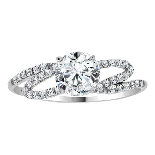 14k White Gold, Dainty Lady Engagement Ring Round Center Cubic Zirconia 1.0ct (R111-069)