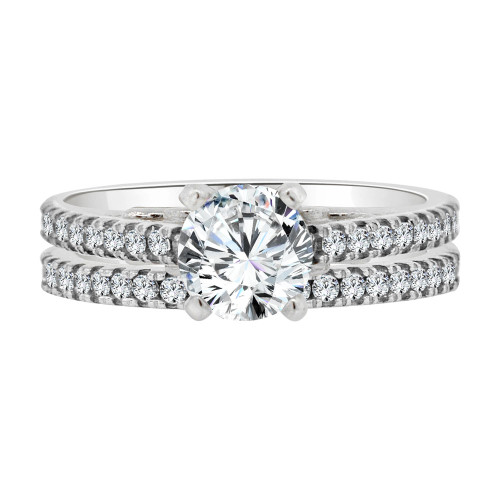 14k White Gold, 2 Piece Set Lady Engagement Band & Ring Round Center Cubic Zirconia 1.0ct (R111-071)