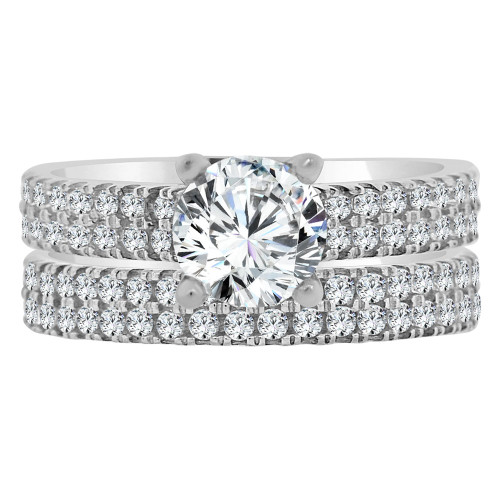 14k Yellow Gold, 2 Piece Set Lady Engagement Band & Ring Round Center Cubic Zirconia 1.0ct (R111-072)