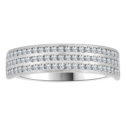 14k White Gold, 3 Row Anniversary Wedding Promise Engagement Band Ring Cubic Zirconia (R111-075)