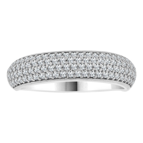 14k White Gold, 4 Row Anniversary Wedding Promise Engagement Band Ring Cubic Zirconia (R111-077)