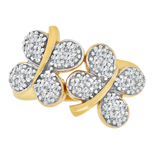 14k Yellow Gold White Rhodium, Good Luck Double Four Leaf Clover Ring Cubic Zirconia (R112-007)