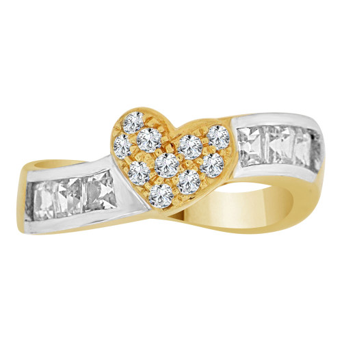14k Yellow Gold White Rhodium, Fancy Skewed Band Ring with Heart Design Cubic Zirconia (R112-009)