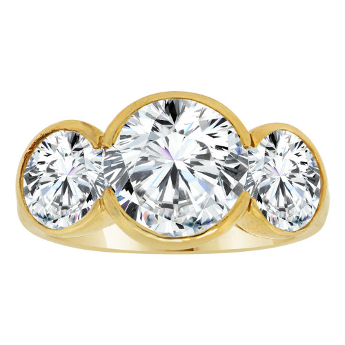14k Yellow Gold, 3 Stone Anniversary Engagement Ring Round Cubic Zirconia (R112-013)