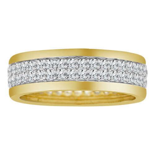 14k Yellow Gold White Rhodium, Fancy Eternity Band Ring Double Row Cubic Zirconia Size 7.5 (R112-021)