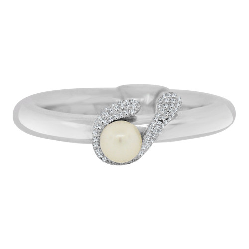 14k White Gold, Simple Tube Band Ring with Genuine Fresh Water Pearl Size 7 (R112-056)