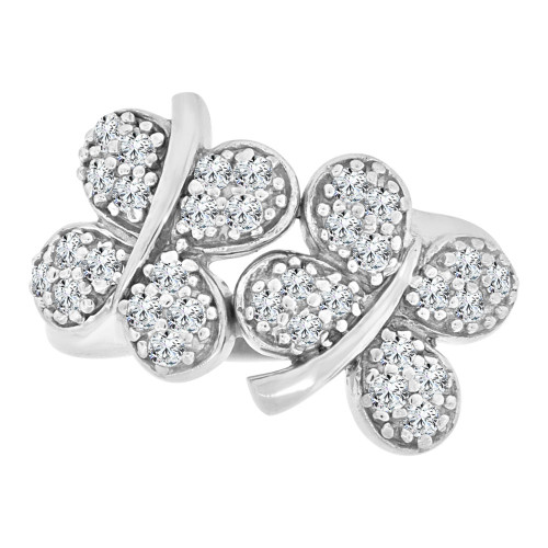 14k White Gold, Good Luck Double Four Leaf Clover Ring Cubic Zirconia (R112-057)