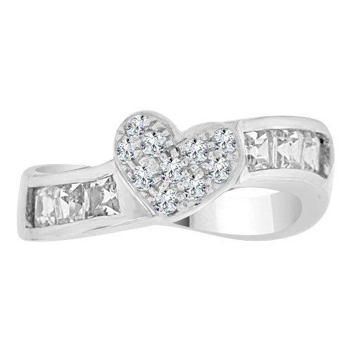 14k White Gold, Fancy Skewed Band Ring with Heart Design Cubic Zirconia (R112-059)