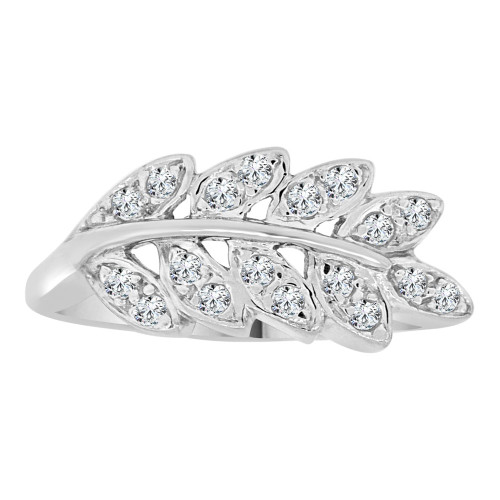 14k White Gold, Fancy Leaf Design Ring Cubic Zirconia (R112-061)