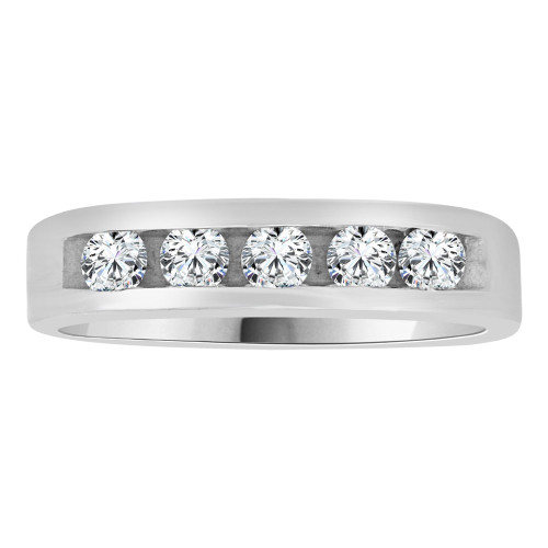 14k White Gold, Fancy Band Ring with Cubic Zirconia. (R112-063)