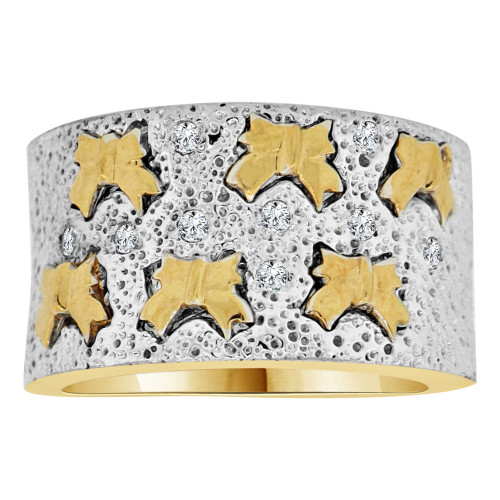 14k Yellow Gold White Rhodium, Fancy Wide Band Ring Mini Bows Lab Created Gems (R113-017)