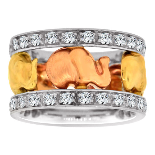 14k Tricolor Gold, Fancy Elephant Design Wide Band Ring with Brilliant Lab Created Gems Size 6.5 (R113-026)